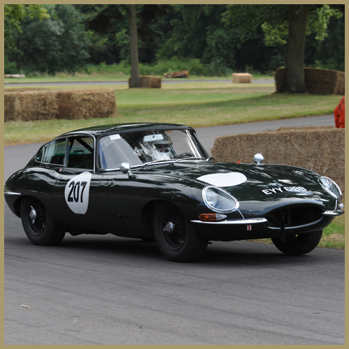 Michael Quinn in the Jaguar E-Type at the Chateau Impney Hill Climb, Droitwich
