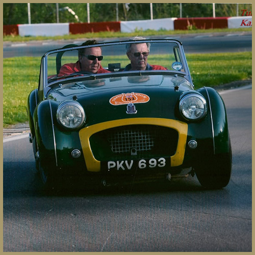Neil Fender and Guy Broad in their Triumph TR2, Chateau Impney Hill Climb, Droitwich