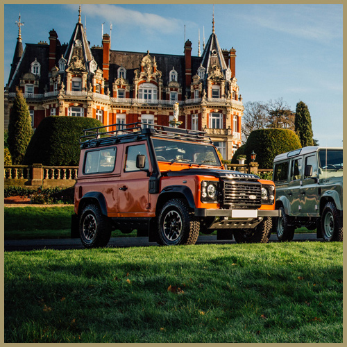 Land Rover Defenders at Chateau Impney Hill Climb, Droitwich
