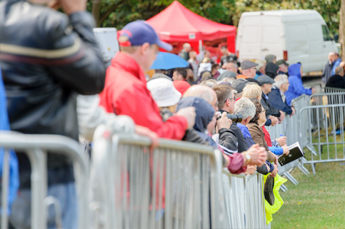 Crowds of motorsport fans at Chateau Impney Hill Climb, Droitwich